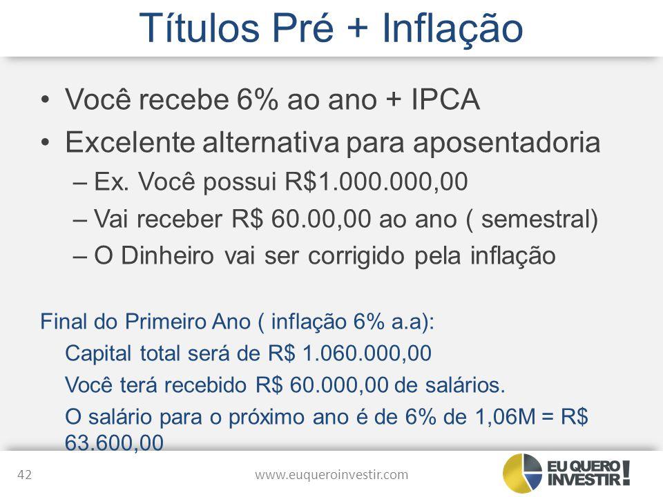 Títulos Pré + Inflação Você recebe 6% ao ano + IPCA Excelente alternativa para aposentadoria –Ex. Você possui R$1.000.000,00 –Vai receber R$ 60.00,00