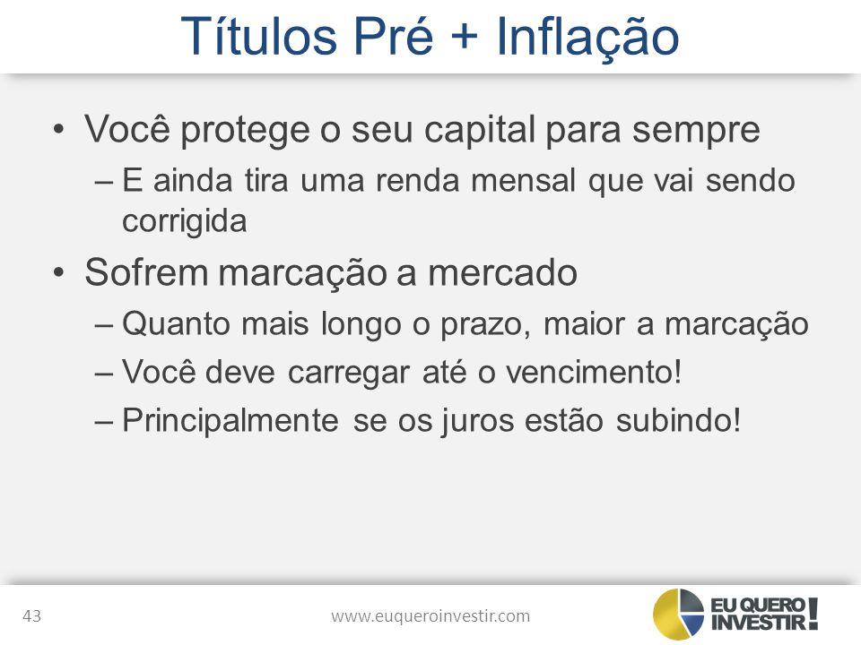 Títulos Pré + Inflação Você protege o seu capital para sempre –E ainda tira uma renda mensal que vai sendo corrigida Sofrem marcação a mercado –Quanto
