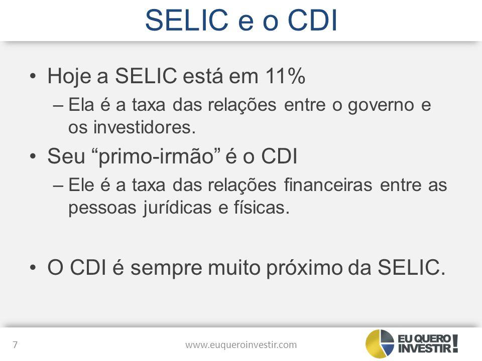 """SELIC e o CDI Hoje a SELIC está em 11% –Ela é a taxa das relações entre o governo e os investidores. Seu """"primo-irmão"""" é o CDI –Ele é a taxa das relaç"""