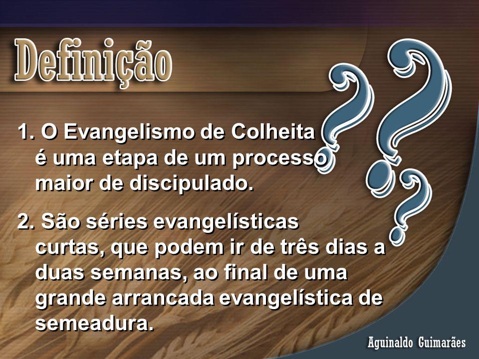 1. O Evangelismo de Colheita é uma etapa de um processo maior de discipulado. 2. São séries evangelísticas curtas, que podem ir de três dias a duas se