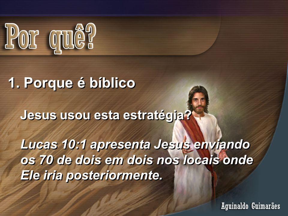 1. Porque é bíblico Lucas 10:1 apresenta Jesus enviando os 70 de dois em dois nos locais onde Ele iria posteriormente. Jesus usou esta estratégia?