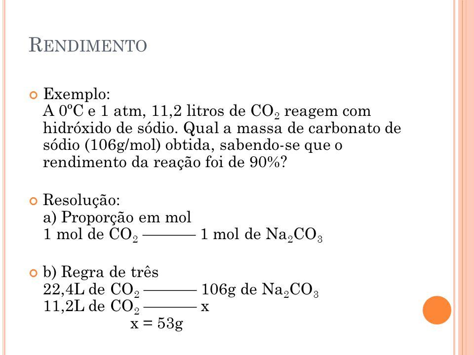 R ENDIMENTO Exemplo: A 0ºC e 1 atm, 11,2 litros de CO 2 reagem com hidróxido de sódio. Qual a massa de carbonato de sódio (106g/mol) obtida, sabendo-s