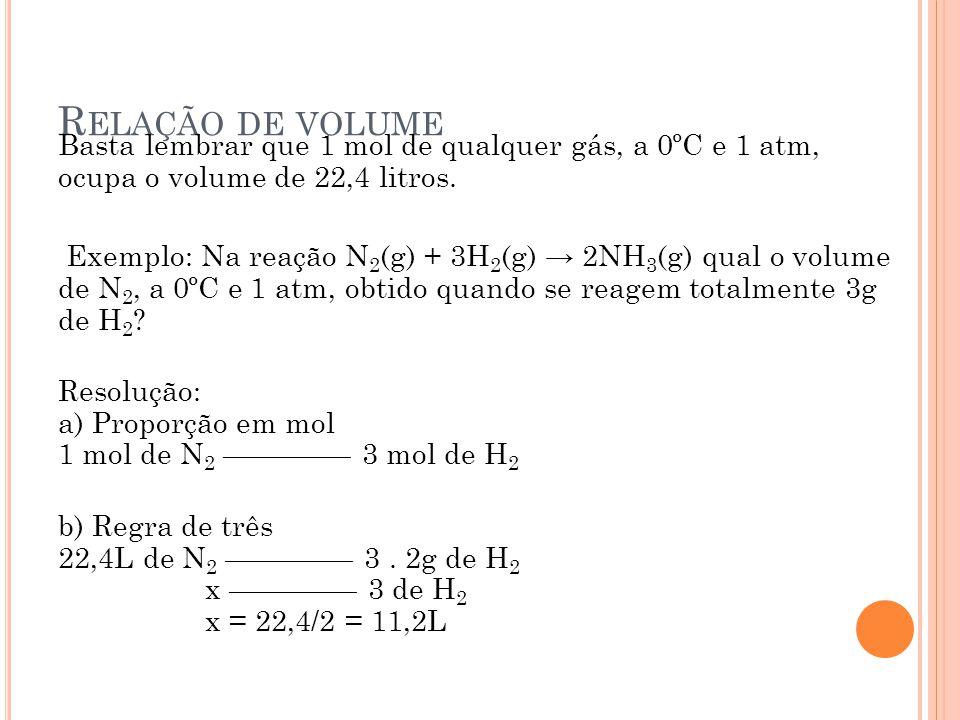 R ELAÇÃO DE VOLUME Basta lembrar que 1 mol de qualquer gás, a 0ºC e 1 atm, ocupa o volume de 22,4 litros. Exemplo: Na reação N 2 (g) + 3H 2 (g) → 2NH
