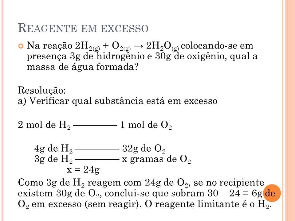 R EAGENTE EM EXCESSO Na reação 2H 2(g) + O 2(g) → 2H 2 O (g) colocando-se em presença 3g de hidrogênio e 30g de oxigênio, qual a massa de água formada