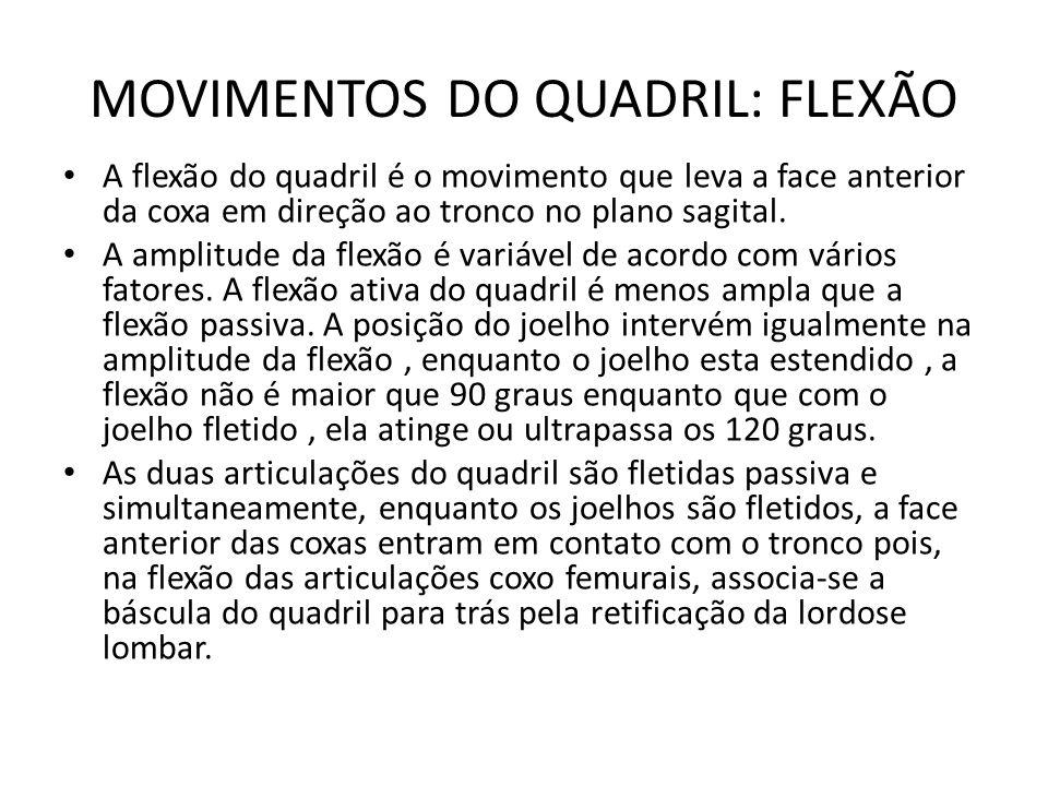 MOVIMENTOS DO QUADRIL: FLEXÃO A flexão do quadril é o movimento que leva a face anterior da coxa em direção ao tronco no plano sagital. A amplitude da