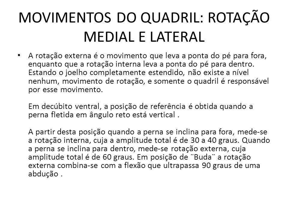 MOVIMENTOS DO QUADRIL: ROTAÇÃO MEDIAL E LATERAL A rotação externa é o movimento que leva a ponta do pé para fora, enquanto que a rotação interna leva