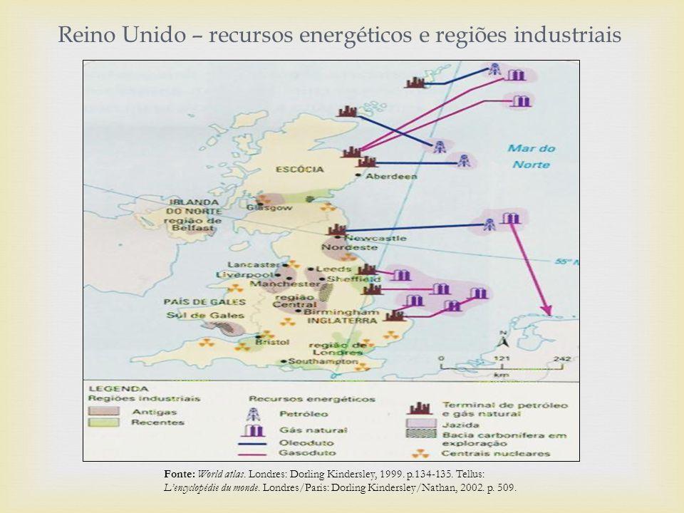 Reino Unido – recursos energéticos e regiões industriais Fonte: World atlas.