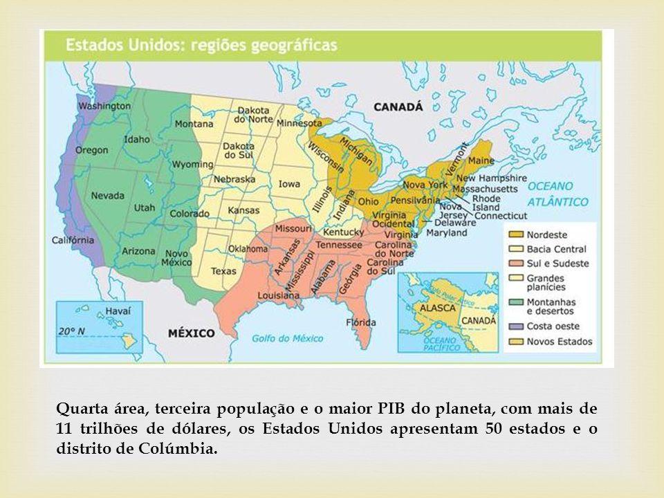 Quarta área, terceira população e o maior PIB do planeta, com mais de 11 trilhões de dólares, os Estados Unidos apresentam 50 estados e o distrito de Colúmbia.