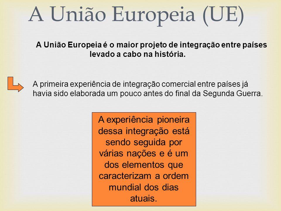A União Europeia (UE) A União Europeia é o maior projeto de integração entre países levado a cabo na história.