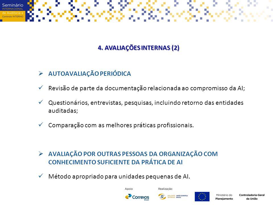 4. AVALIAÇÕES INTERNAS (2)  AUTOAVALIAÇÃO PERIÓDICA Revisão de parte da documentação relacionada ao compromisso da AI; Questionários, entrevistas, pe
