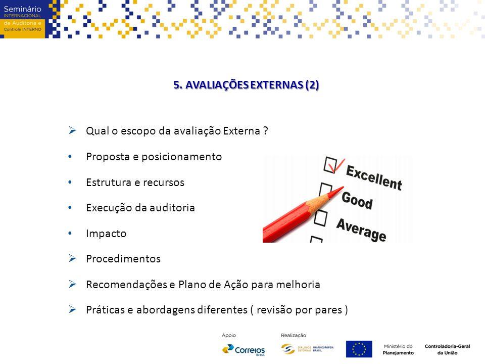 5. AVALIAÇÕES EXTERNAS (2)  Qual o escopo da avaliação Externa ? Proposta e posicionamento Estrutura e recursos Execução da auditoria Impacto  Proce