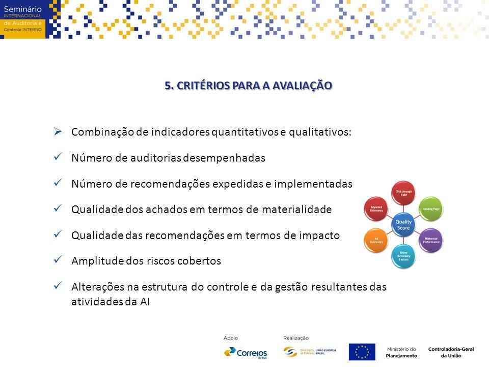5. CRITÉRIOS PARA A AVALIAÇÃO  Combinação de indicadores quantitativos e qualitativos: Número de auditorias desempenhadas Número de recomendações exp