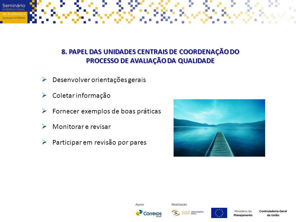 8. PAPEL DAS UNIDADES CENTRAIS DE COORDENAÇÃO DO PROCESSO DE AVALIAÇÃO DA QUALIDADE  Desenvolver orientações gerais  Coletar informação  Fornecer e
