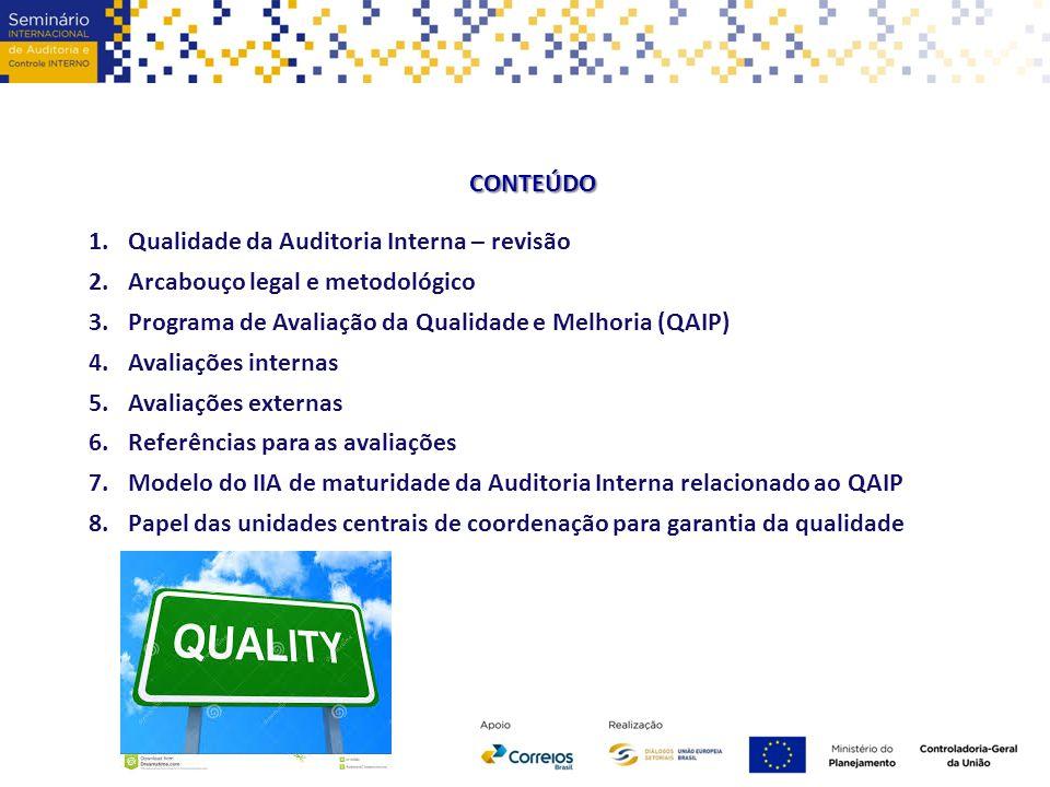 CONTEÚDO 1.Qualidade da Auditoria Interna – revisão 2.Arcabouço legal e metodológico 3.Programa de Avaliação da Qualidade e Melhoria (QAIP) 4.Avaliaçõ