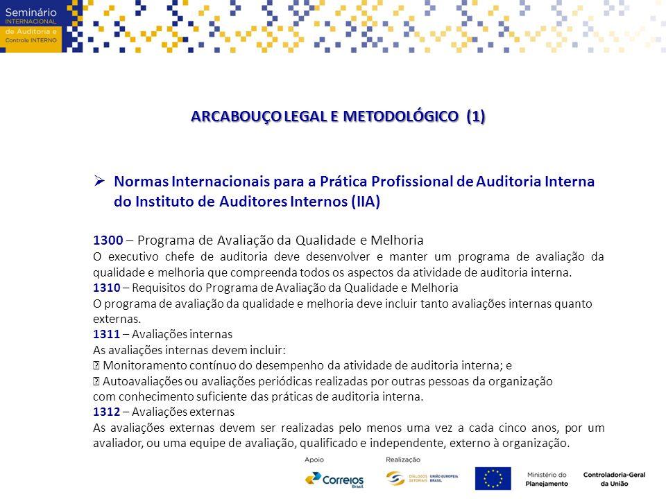 ARCABOUÇO LEGAL E METODOLÓGICO (1)  Normas Internacionais para a Prática Profissional de Auditoria Interna do Instituto de Auditores Internos (IIA) 1