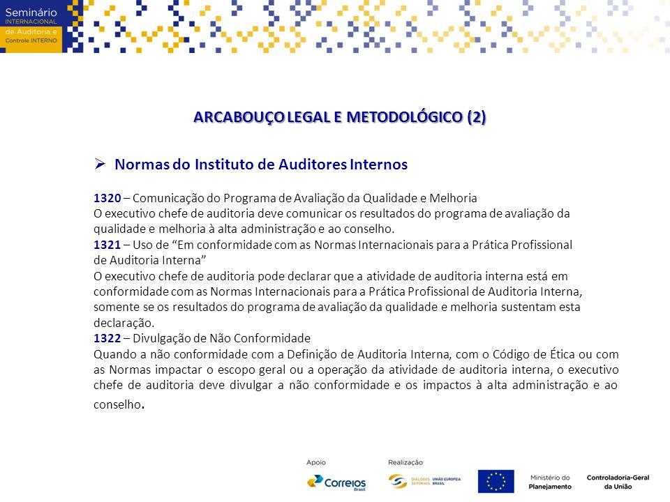ARCABOUÇO LEGAL E METODOLÓGICO (2)  Normas do Instituto de Auditores Internos 1320 – Comunicação do Programa de Avaliação da Qualidade e Melhoria O e