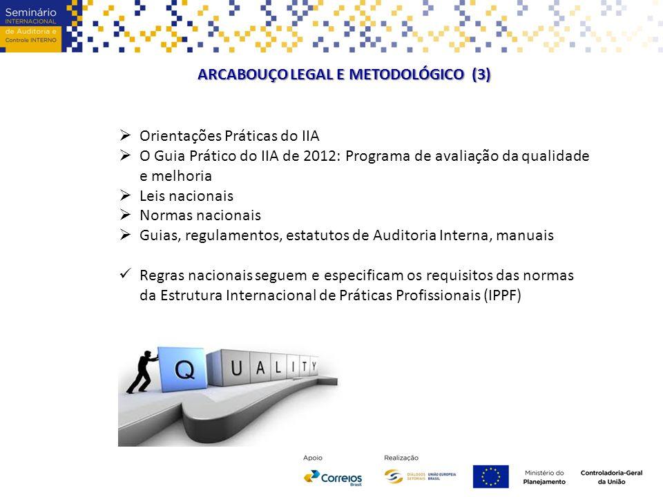 ARCABOUÇO LEGAL E METODOLÓGICO (3)  Orientações Práticas do IIA  O Guia Prático do IIA de 2012: Programa de avaliação da qualidade e melhoria  Leis