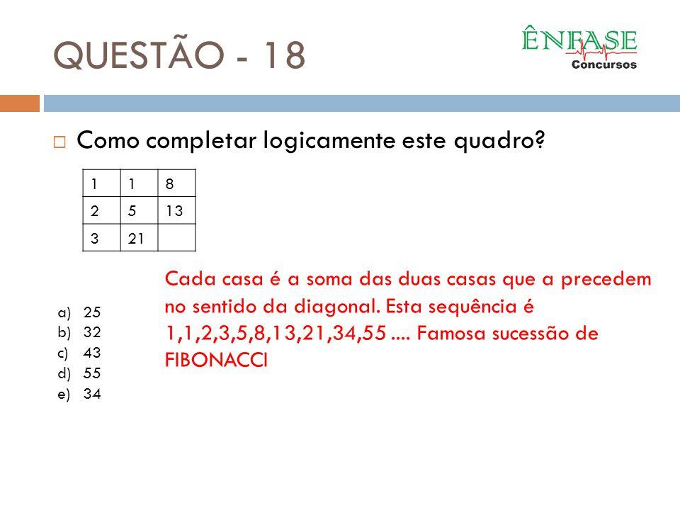 QUESTÃO - 18  Como completar logicamente este quadro? 118 2513 321 a)25 b)32 c)43 d)55 e)34 Cada casa é a soma das duas casas que a precedem no senti