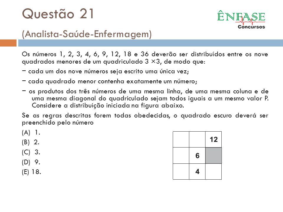 Questão 21 (Analista-Saúde-Enfermagem) Os números 1, 2, 3, 4, 6, 9, 12, 18 e 36 deverão ser distribuídos entre os nove quadrados menores de um quadric