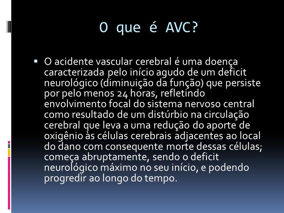 O que é AVC?  O acidente vascular cerebral é uma doença caracterizada pelo início agudo de um deficit neurológico (diminuição da função) que persiste