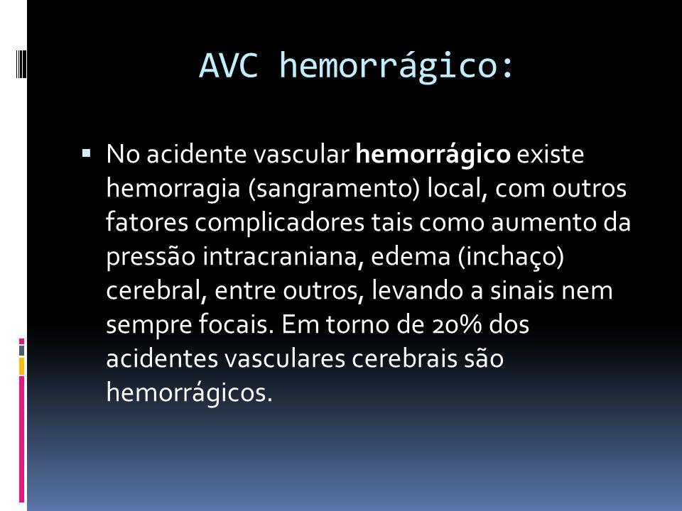 AVC hemorrágico:  No acidente vascular hemorrágico existe hemorragia (sangramento) local, com outros fatores complicadores tais como aumento da press