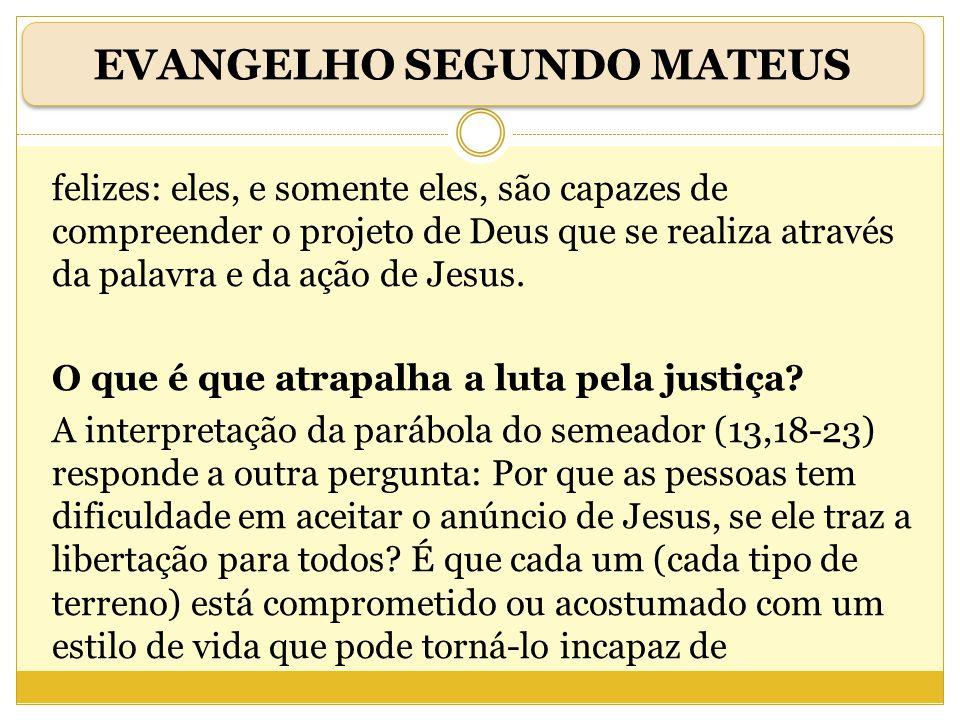 felizes: eles, e somente eles, são capazes de compreender o projeto de Deus que se realiza através da palavra e da ação de Jesus. O que é que atrapalh