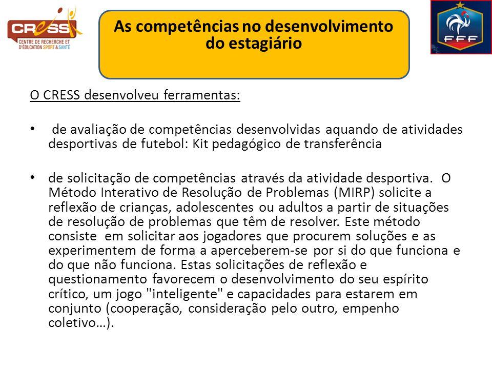 O CRESS desenvolveu ferramentas: de avaliação de competências desenvolvidas aquando de atividades desportivas de futebol: Kit pedagógico de transferência de solicitação de competências através da atividade desportiva.