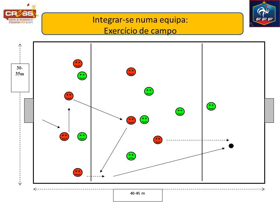 40-45 m 30- 35m Integrar-se numa equipa: Exercício de campo