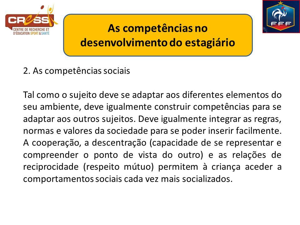 As competências no desenvolvimento do estagiário 2.