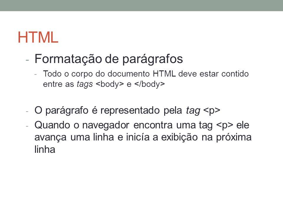 HTML - Formatação de parágrafos - Todo o corpo do documento HTML deve estar contido entre as tags e - O parágrafo é representado pela tag - Quando o n