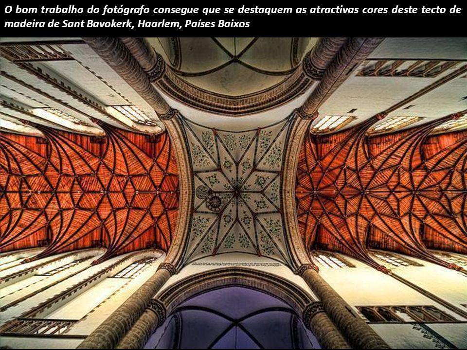 O bom trabalho do fotógrafo consegue que se destaquem as atractivas cores deste tecto de madeira de Sant Bavokerk, Haarlem, Países Baixos