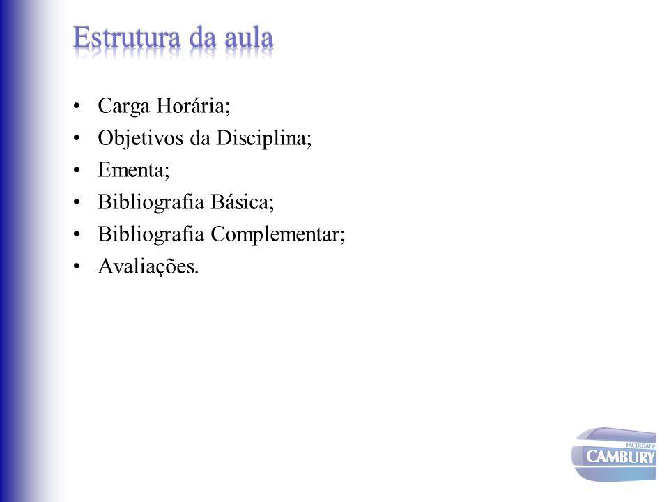 Carga Horária; Objetivos da Disciplina; Ementa; Bibliografia Básica; Bibliografia Complementar; Avaliações.