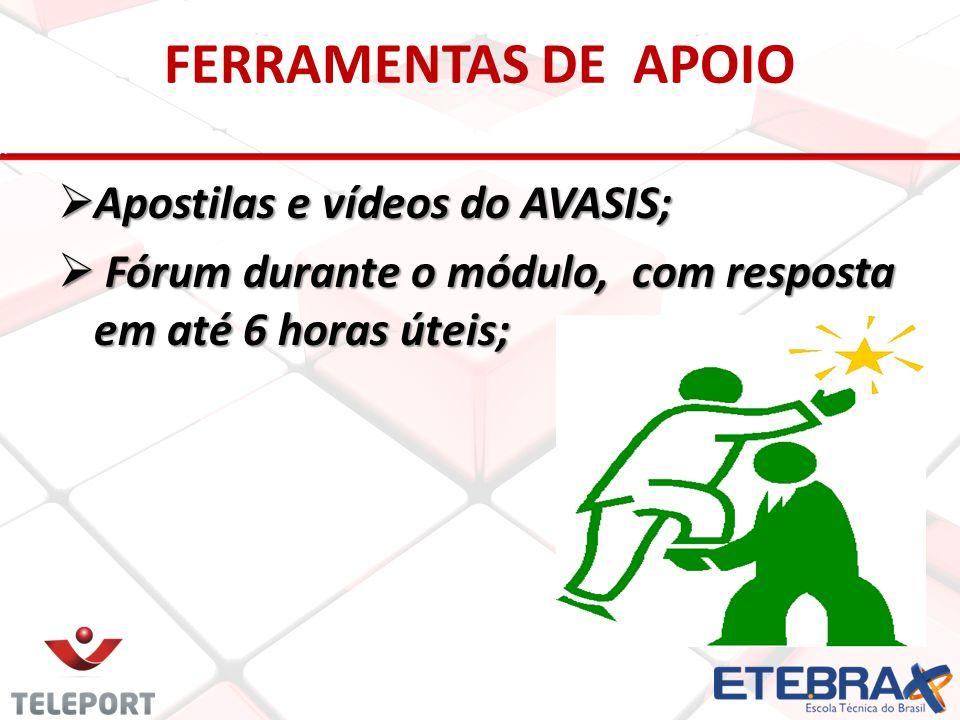 FERRAMENTAS DE APOIO  Apostilas e vídeos do AVASIS;  Fórum durante o módulo, com resposta em até 6 horas úteis;