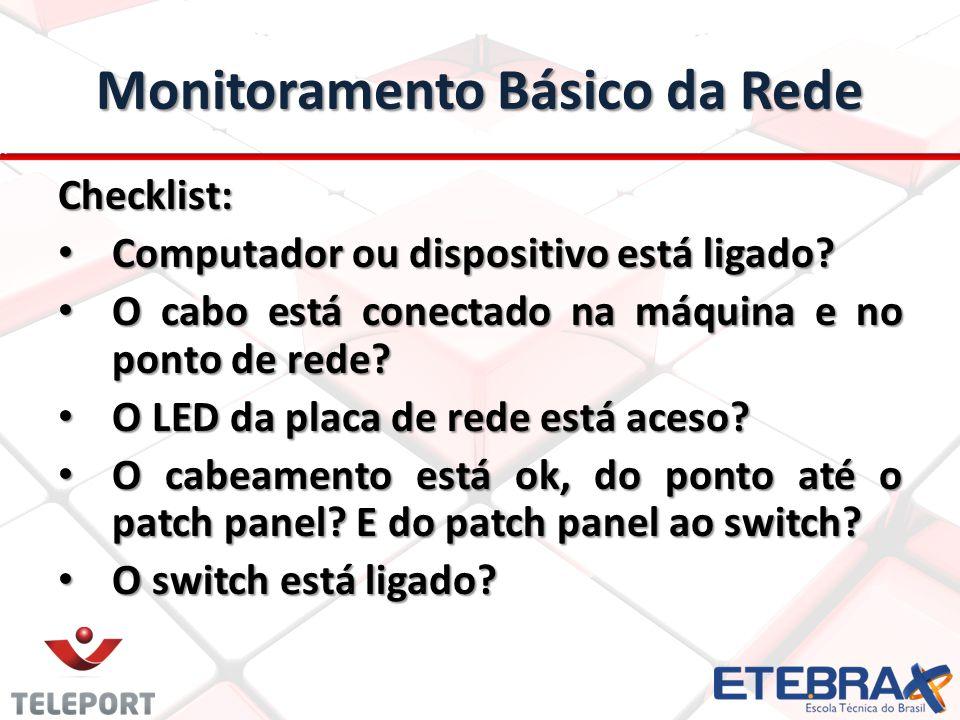 Monitoramento Básico da Rede Checklist: Computador ou dispositivo está ligado.