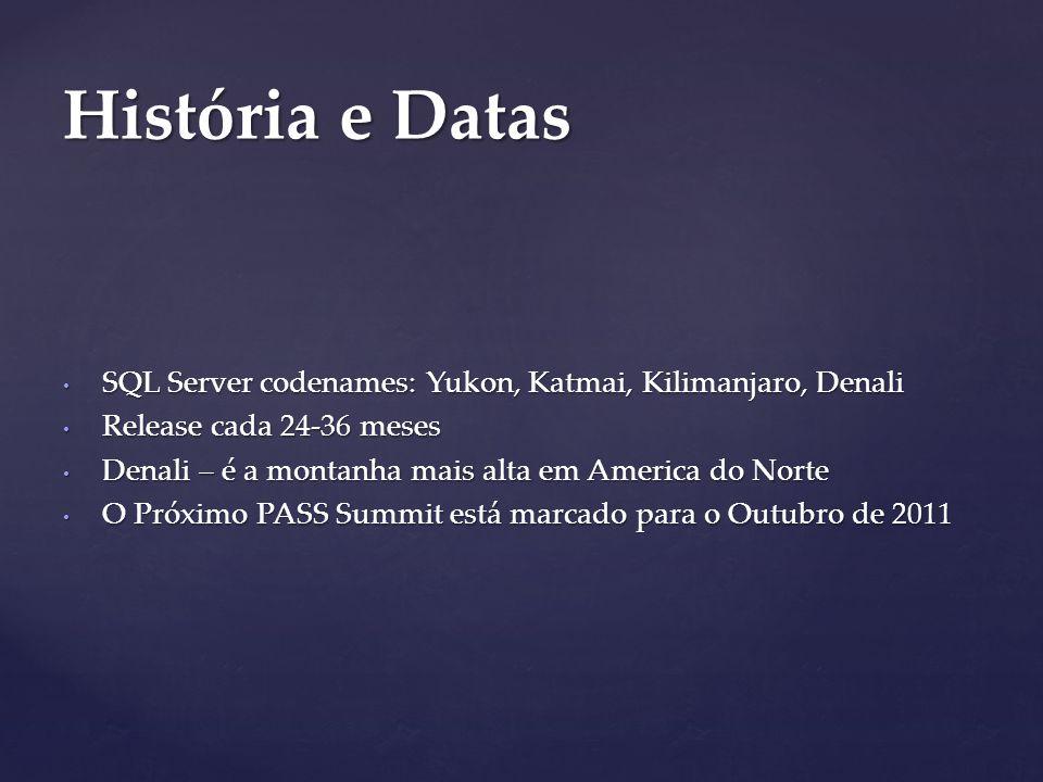 SQL Server codenames: Yukon, Katmai, Kilimanjaro, Denali SQL Server codenames: Yukon, Katmai, Kilimanjaro, Denali Release cada 24-36 meses Release cada 24-36 meses Denali – é a montanha mais alta em America do Norte Denali – é a montanha mais alta em America do Norte O Próximo PASS Summit está marcado para o Outubro de 2011 O Próximo PASS Summit está marcado para o Outubro de 2011 História e Datas