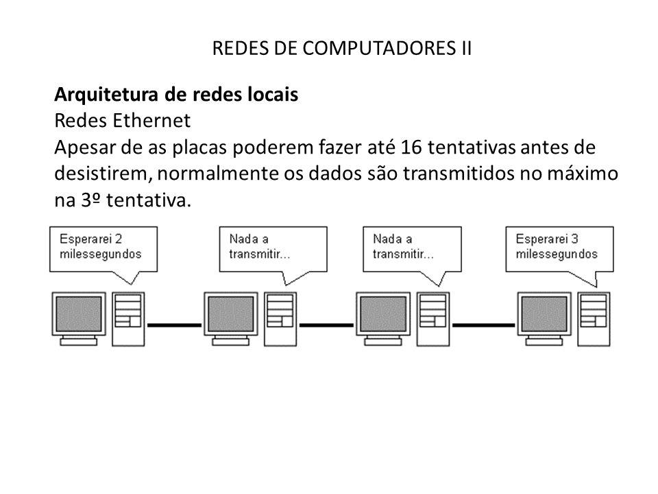 REDES DE COMPUTADORES II Arquitetura de redes locais Redes Ethernet Apesar de as placas poderem fazer até 16 tentativas antes de desistirem, normalmen