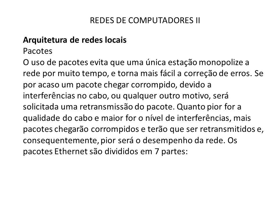 REDES DE COMPUTADORES II Arquitetura de redes locais Pacotes O uso de pacotes evita que uma única estação monopolize a rede por muito tempo, e torna m