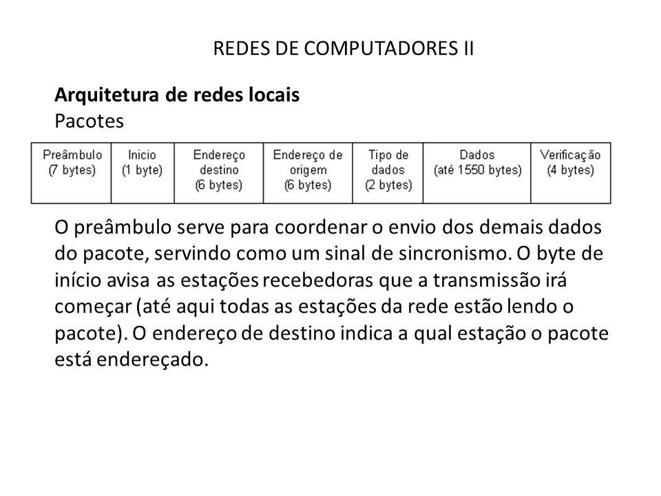 REDES DE COMPUTADORES II Arquitetura de redes locais Pacotes O preâmbulo serve para coordenar o envio dos demais dados do pacote, servindo como um sin