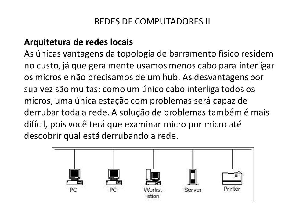 REDES DE COMPUTADORES II Arquitetura de redes locais As únicas vantagens da topologia de barramento físico residem no custo, já que geralmente usamos