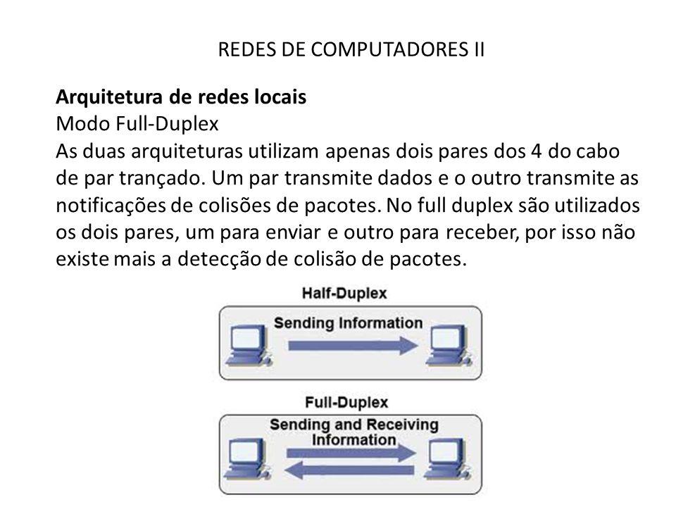 REDES DE COMPUTADORES II Arquitetura de redes locais Modo Full-Duplex As duas arquiteturas utilizam apenas dois pares dos 4 do cabo de par trançado. U