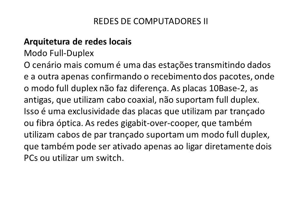 REDES DE COMPUTADORES II Arquitetura de redes locais Modo Full-Duplex O cenário mais comum é uma das estações transmitindo dados e a outra apenas conf