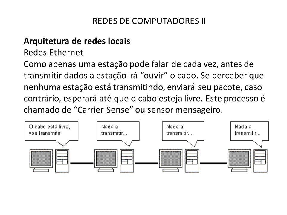 REDES DE COMPUTADORES II Arquitetura de redes locais Redes Ethernet Como apenas uma estação pode falar de cada vez, antes de transmitir dados a estaçã