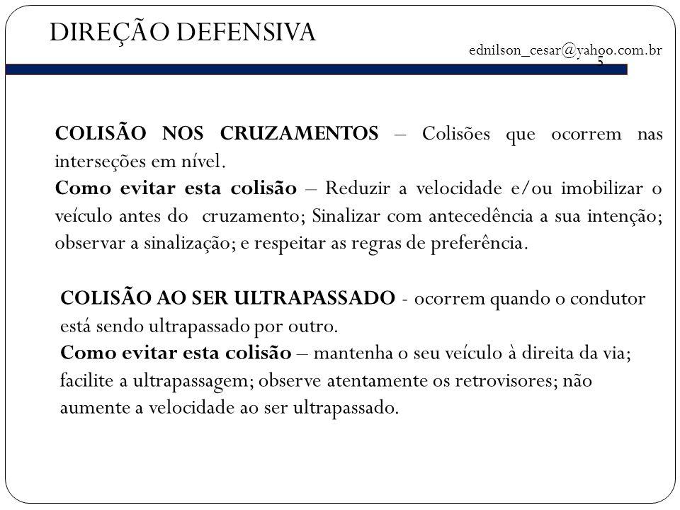 DIREÇÃO DEFENSIVA ednilson_cesar@yahoo.com.br 5 COLISÃO NOS CRUZAMENTOS – Colisões que ocorrem nas interseções em nível.