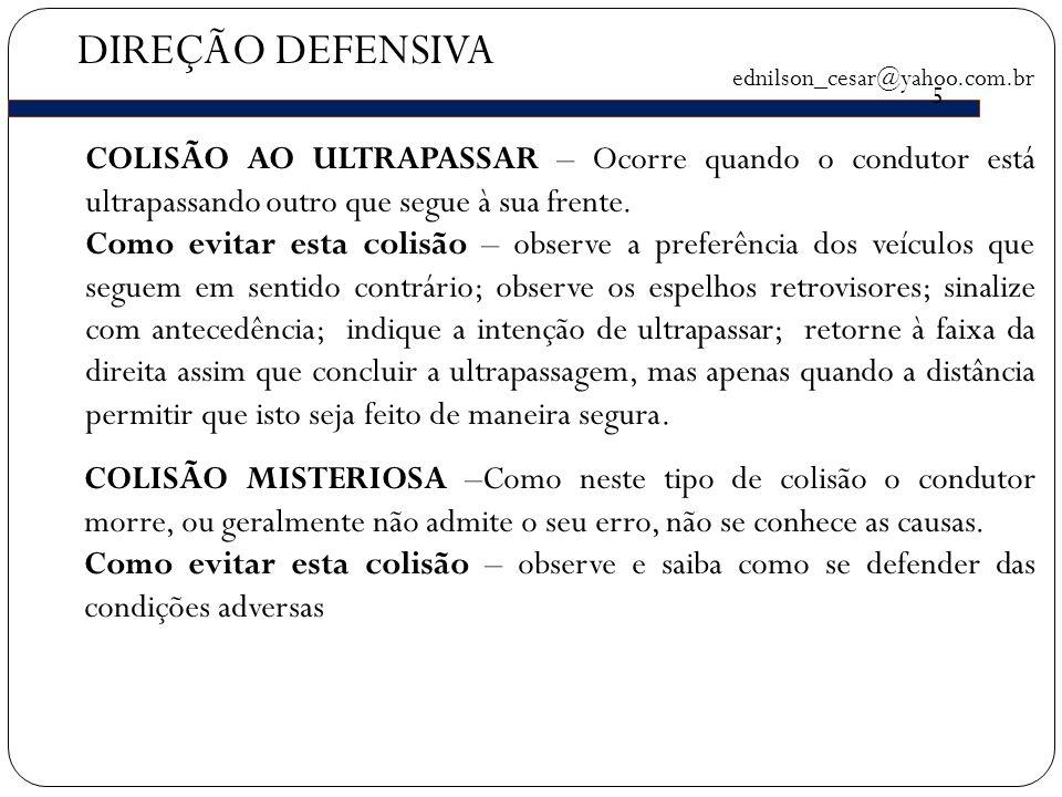 DIREÇÃO DEFENSIVA ednilson_cesar@yahoo.com.br 5 COLISÃO AO ULTRAPASSAR – Ocorre quando o condutor está ultrapassando outro que segue à sua frente.