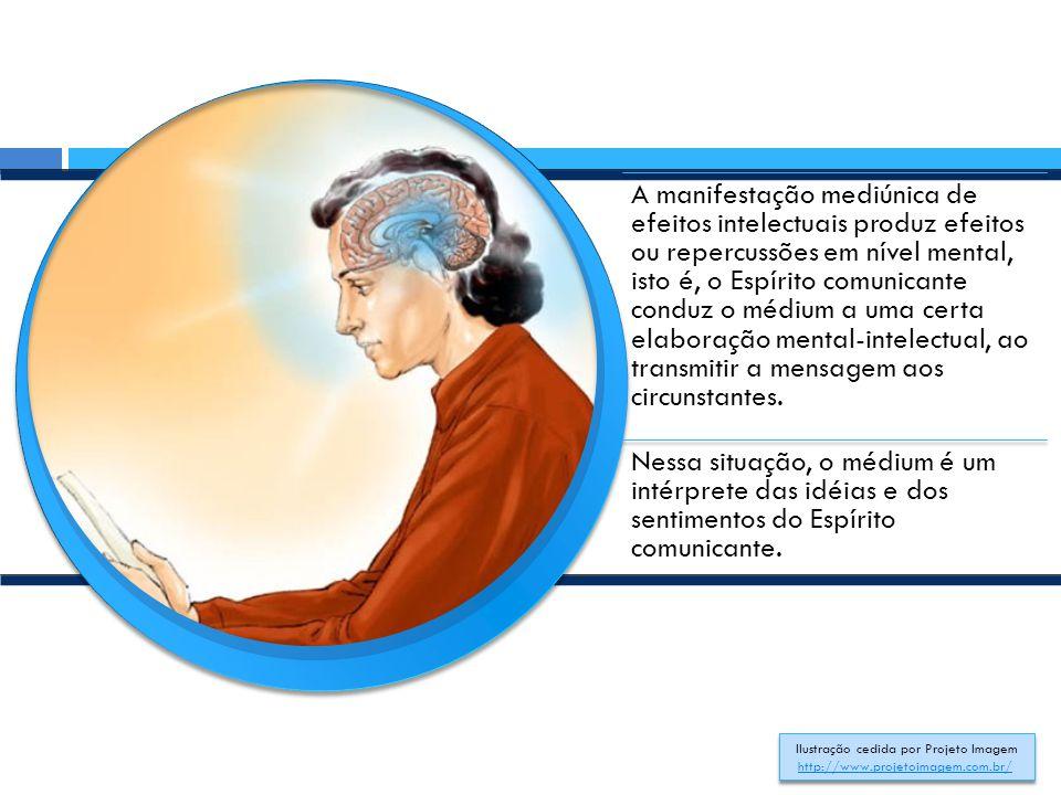 A manifestação mediúnica de efeitos intelectuais produz efeitos ou repercussões em nível mental, isto é, o Espírito comunicante conduz o médium a uma certa elaboração mental-intelectual, ao transmitir a mensagem aos circunstantes.