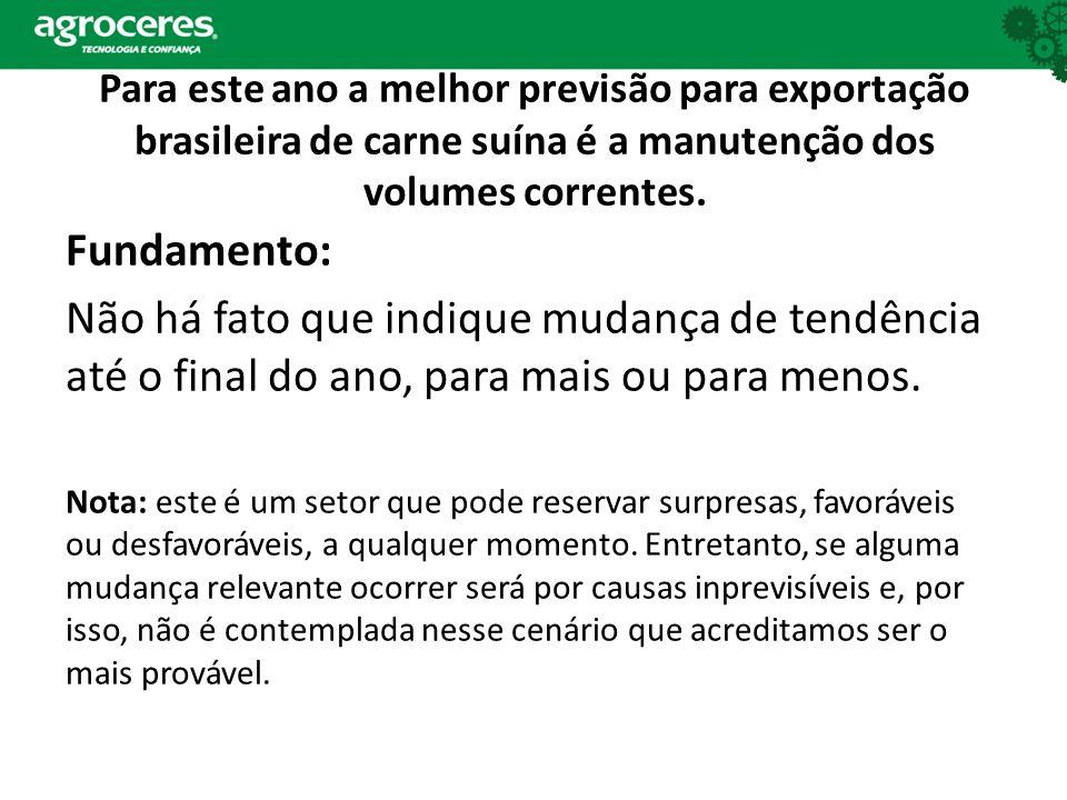 Para este ano a melhor previsão para exportação brasileira de carne suína é a manutenção dos volumes correntes.