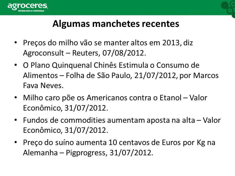 Algumas manchetes recentes Preços do milho vão se manter altos em 2013, diz Agroconsult – Reuters, 07/08/2012. O Plano Quinquenal Chinês Estimula o Co