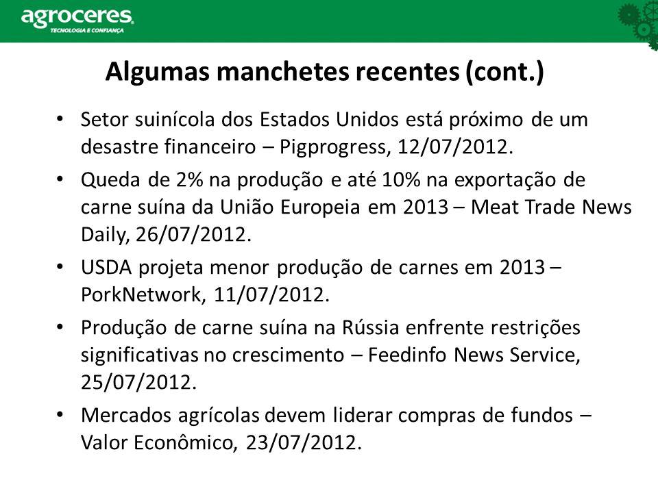 Setor suinícola dos Estados Unidos está próximo de um desastre financeiro – Pigprogress, 12/07/2012.