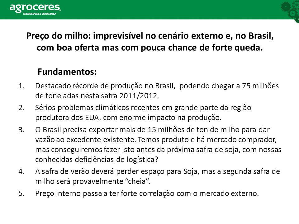 Preço do milho: imprevisível no cenário externo e, no Brasil, com boa oferta mas com pouca chance de forte queda. 1.Destacado récorde de produção no B
