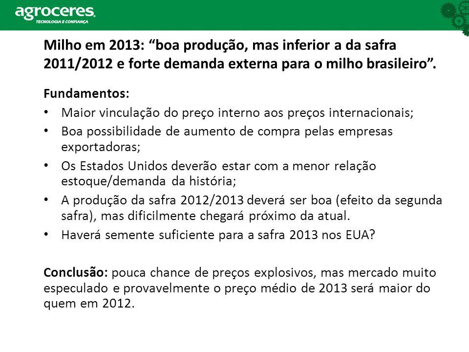 Milho em 2013: boa produção, mas inferior a da safra 2011/2012 e forte demanda externa para o milho brasileiro .